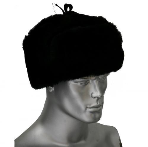 Шапка-ушанка (мутон искусственный) чёрная
