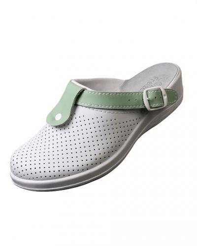 """Туфли Сабо """"Комфорт"""" белые с зеленым нат.кожа"""
