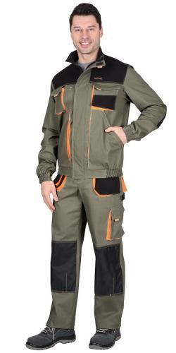 """Костюм """"МАНХЕТТЕН"""" куртка, брюки оливковый с оранжевым и чер. тк. мех. стрейч пл 260 г/кв.м"""