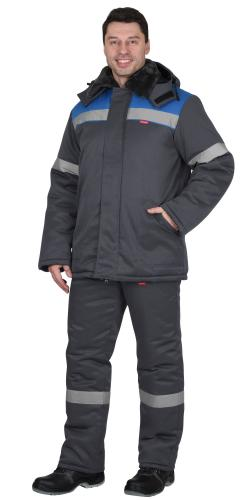 "Костюм ""Рост-Арктика"" куртка,брюки т.серый с васильковым"