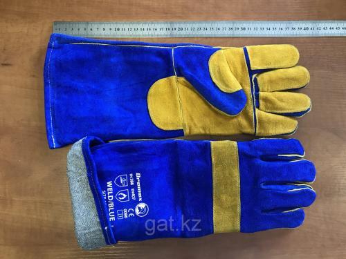 Перчатки-краги спилковые пятипалые с подкладкой 6636