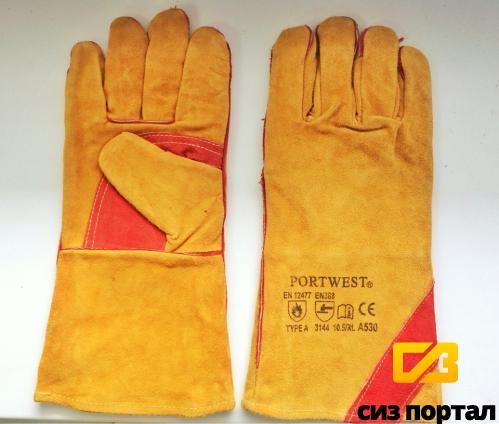 Перчатки-краги спилковые утепленные