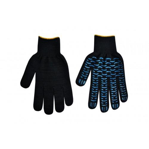 Перчатки трикотажные черные 5-ти нит. с ПВХ (протектор) 7 кл.